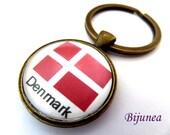 Denmark keychain - Denmark keychain - World country Denmark keychain - Denmark acessories k211