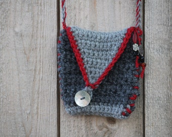 Small Crochet Purse Pouch Bag Medicine Talisman Treasure Spirit Cross Body Bag Dark Light Grey Red Acrylic Yarn Beaded Boho Gift For Her