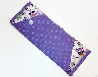 Insulated Curling Iron or Flat Iron Case - Lavender Owls