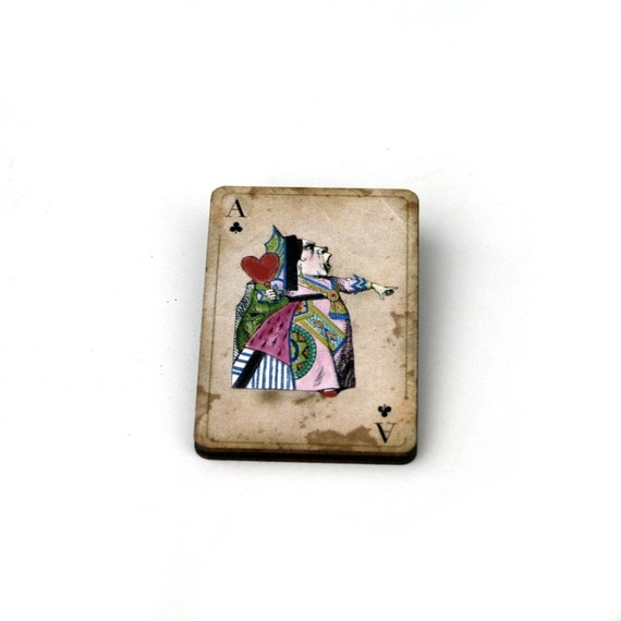 Queen of Hearts Brooch, Alice in Wonderland Brooch, Tenniel Illustration