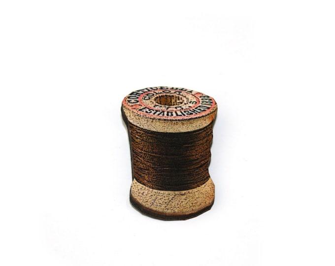 Cotton Spool Brooch, Wooden Thread Spool Illustration, Wood Jewelry, Bobbin Brooch