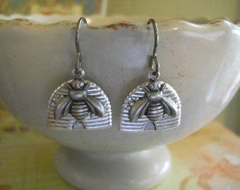 Silver Beehive Charm Earrings with Tiny Silver Bees on Niobium Hypo Allergenic Ear Wires