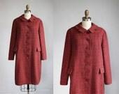 1930s pink - green Harris Tweed winter coat - Scottish wool - notched collar / m