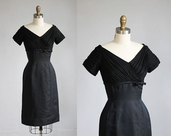 1950s black evening dress / xs - s