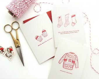 "Letterpress ""Holiday Clothing"" Box Set of 6"