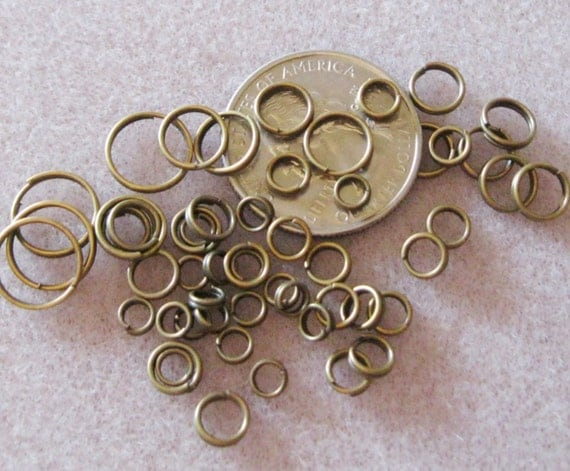 antique bronze brass split jump rings various sizes nickel