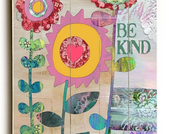 Be Kind Collage Wall Art, Planked Wood Art for Women and Girls