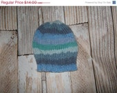 HAT SALE Baby Hat - Hand knit acrylic blend  striped - size 6 - 12 months