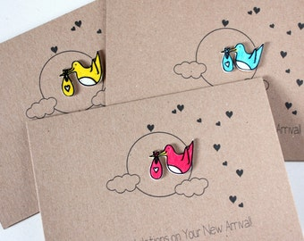 Personalised New Baby Card. Baby Congratulations Card. New Baby Card. Stork Card. New Arrival Card. Baby Boy Card. Baby Girl Card. New Baby