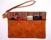 Dark Gold Wristlet, Maroon Green Clutch, Striped Zippered Wallet, Autumn Tones Makeup Bag