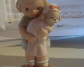 Rare We Belong Together Girl holding her dog Enesco Memories Yesterday Collectors Society Membership Figurine 1991 Mabel L Attwell  box also