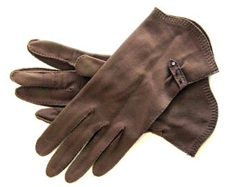 Vintage Gloves in Brown - Button Tab Detail Driving Gloves / Size 7
