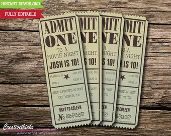 Editable Vintage Movie Ticket Invitation - Digital File - FULLY EDITABLE - FREE Envelope Template!