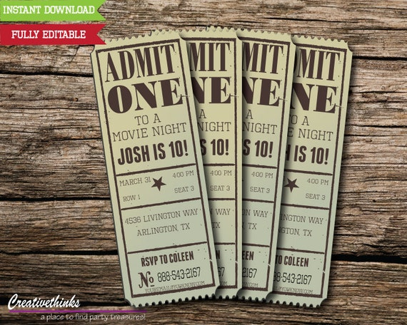 Editable Vintage Movie Ticket Invitation   Digital File   FULLY EDITABLE    FREE Envelope Template!  Movie Ticket Template Free