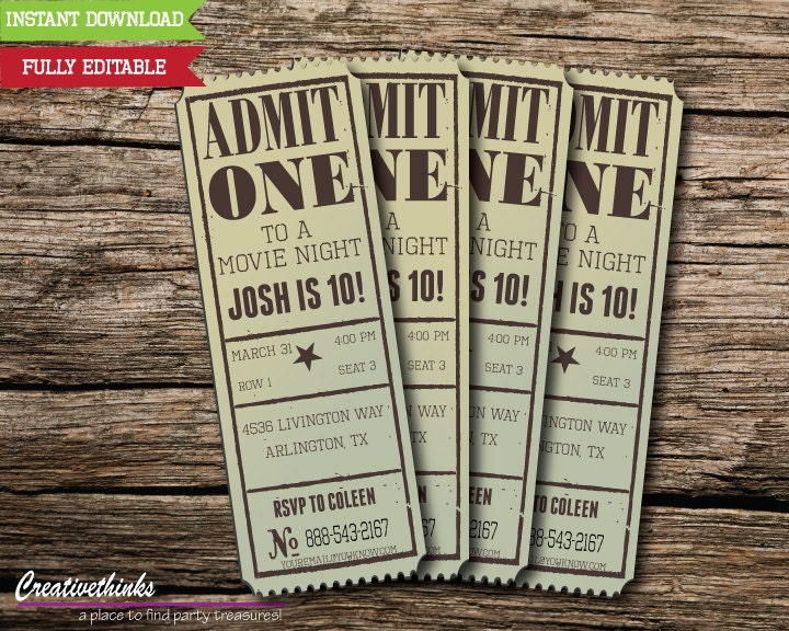 Editable Vintage Movie Ticket Invitation Digital File – Theater Ticket Template