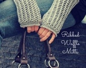 Download Now - CROCHET PATTERN Ribbed Waffle Mitts - Ladies One Size Fits Most - PDF