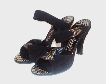 1950s shoes / vintage 50s heels / 7 / Black Suede Rhinestone Party Heels