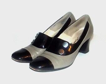 1960s heels / vintage 60s buckle heels / 6.5 / leather heels / Black and Taupe Buckle Heels