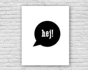 Hej! Art Print, Swedish Art Print, Children's Art, Nursery Art Poster, Instant Download