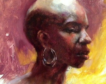 African American Woman with Purple and Yellow Original Oil Painting Portrait