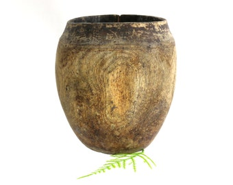 Rustic African Cup, Somali Drinking Milk Container, Handmade, Careful Repairs, African Decor