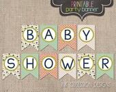 Instant Download Baby Shower Banner Gender Neutral Design with Flowers Polka Dots & Chevron Stripes Printable PDF File