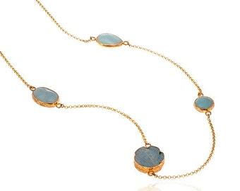 Aventurine Gemtone Necklace Gold Vermeil over Sterling silver