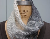 Knit Lightweight Mohair Pull-Over Cowl Variegated Gray