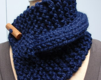 Knit Button Up Neck Cozy Scarf Dark Blue with Toggle