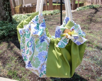 Large Floral Gathered Tote Shades of Lavender, White, Periwinkle, and Green