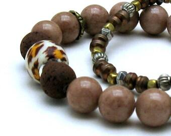 Cocoa Brown Jade Modern Bohochic Beaded Bracelet, Animal Print Stretch Bracelet, For Her Under 100, One of a Kind
