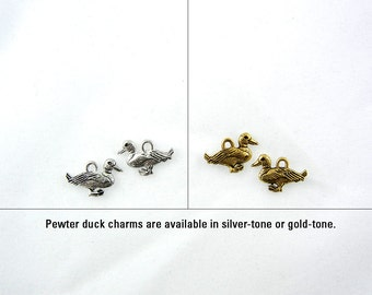 Pair of Small Pewter Duck Charms Available Silver and Gold-tone Jewelry Supplies