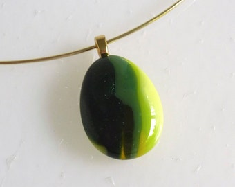 Layered Green and Yellow Fused Glass Pendant by BPRDesigns