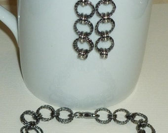 Gunmetal Plated Chain and Sterling Silvermaille Bracelet and Earring Jewelry Set - Chain Maille Black and Silver Jewelry Set