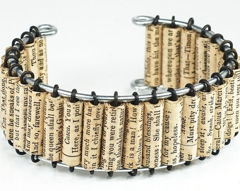 Shakespeare Jewelry- Upcycled Shakespeare Paper Bead Cuff Bracelet, Paper Bead Jewelry, Book Lover Gift, Paper Jewelry by Tanith Rohe