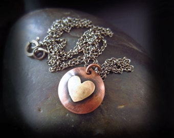 Mixed Metal Heart Necklace - Rustic Copper and Silver Necklace - Sterling Silver Chain - RUSTIC HEART