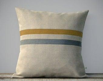 Marigold Striped Pillow Cover in Stone Grey & Natural Linen by JillianReneDecor - Modern Home Decor - Dark Mustard FW2015