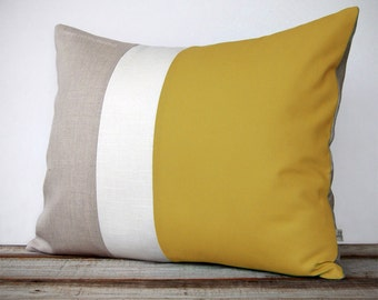 16x20 Color Block Pillow in Mustard, Cream and Natural Linen by JillianReneDecor -  Modern Home Decor - Honey Gold