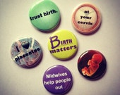 Birth Junkie Set of 6 Pinback Buttons