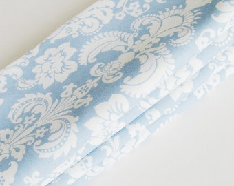 Blue Baroque Damask Cotton Napkins / Set of 4 / Light Dusty Blue & Off-White Elegant Table Decor / Unique Eco-Friendly Gift Under 50