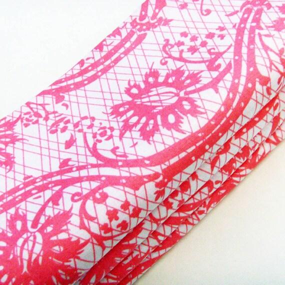Hot Pink & White Lace Napkins / Featured in Brides Magazine UK Sep-Oct 2012 / Feminine Romance Wedding Tea Party / Set of 4 / Gift Under 50