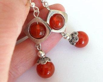 Carnelian earrings, dangle earrings, boho chic earrings,  gift for her, drop earrings, bohemian jewelry, carnelian jewelry