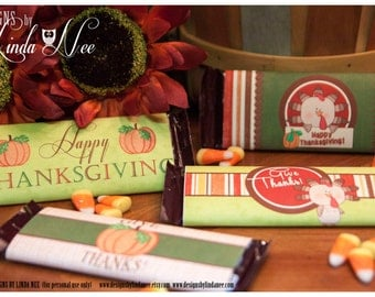 Candy Bar Wrappers - Turkey Time Large 1.55 oz Hershey Bar Candy Wrappers - Printable Party Packages - Custom Party Package - Thanksgiving