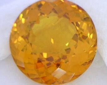 Large Yellow Orange Sapphire Lab Created 18mm Round Faceted Gemstone 24.79 carat
