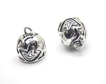 2 pcs- Matte Silver Plated Brass Cone Flower Bead Caps-12x18mm- (424-029SP)