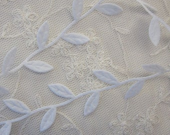 3yds WHITE fabric leaf ribbon trim on a vine great for scrapbooking quilts clothing holiday bridal