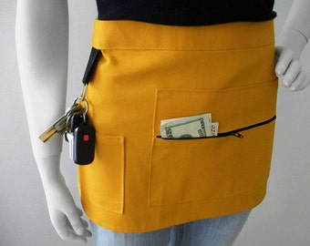 YELLOW Vendor Apron - Unisex -  Canvas Waitress Apron - Hostess Apron