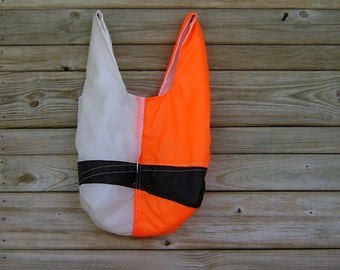 Black Orange and White Parachute Market Bag Lined with White