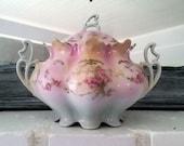 Antique Vintage Austrian Pink Roses Biscuit Jar