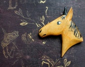 Pair of Vintage Hand Made Horsehead Brooches, Pinback Horse Equine Accessories